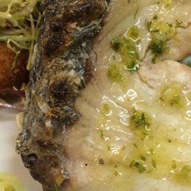 Robata-grilled Corvina sea bass with salt cod brandade at Hopscotch Restaurant & Bar