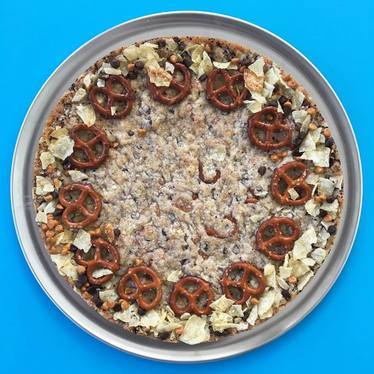 Compost cookie cake, pretzels, chocolate chips, potato chips at Momofuku Milk Bar