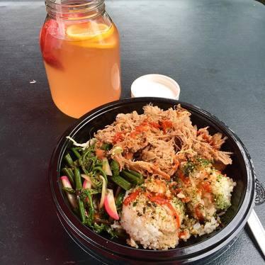 Chicken and rice bowl with radish, furikake, and sriracha  at Umeke's