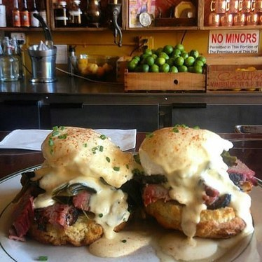 Eggs Benedict with brisket and smoked hollandaise  at Smokehouse Tavern