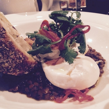 Poached Egg...lentils, yogurt, garlic at The Breslin Bar & Dining Room