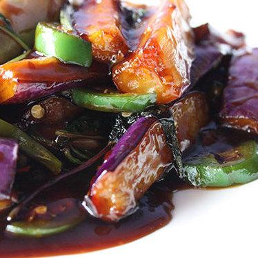 Eggplant sautéed w/ garlic & basil at Spices!! II
