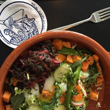 Rice bowl with cucumber, squash and radish at The National