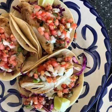 Fish tacos with pico de gallo at Frida's Beach House