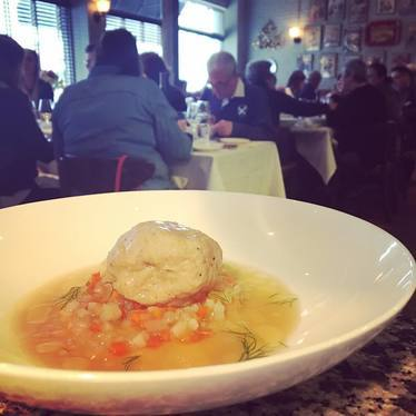 Matzoh ball soup at Craigie on Main