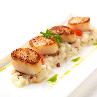 Orange caramelized scallops at The PearTree Restaurant