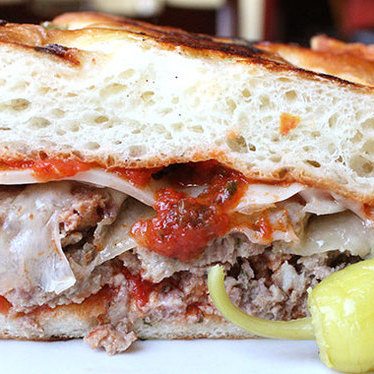 Meatball hot focaccia sandwich at Mario's Bohemian Cigar Store Cafe