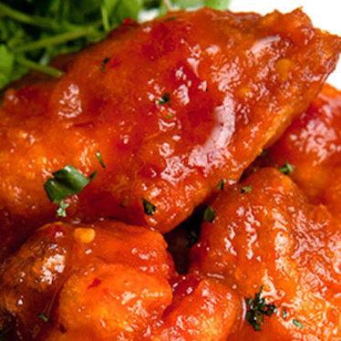 "Spicy ""K.F.C."" Korean fire chicken wings at Danji"