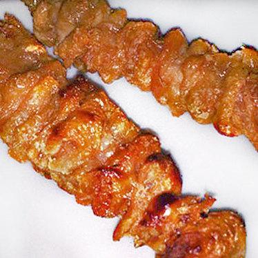 Chicken skin skewers at Hanjan