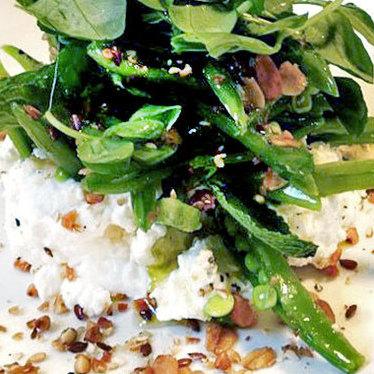 Ricotta w/ sugar snap peas & granola at Il Buco Alimentari e Vineria