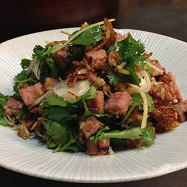Grilled thai sausage & crispy rice salad at Maenam