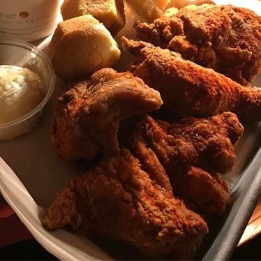 Fried chicken, schmaltz smashed potatoes, muffins and honey butter at Honey Butter Fried Chicken