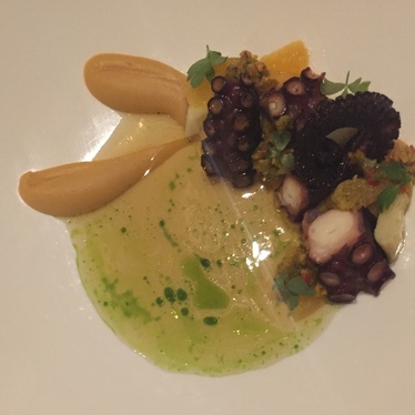Octopus with chickpea, artichoke, merguez at Mourad