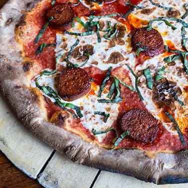 'Nduja pizza at Coalfire Pizza