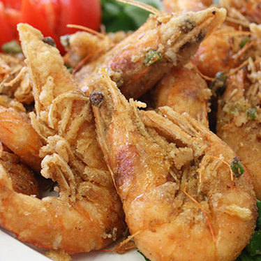 Pepper and salt roast prawns at Yuet Lee