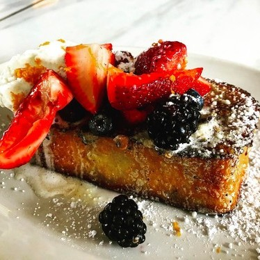 French toast with potato bread, basted with maple pistachio butter at Central Standard