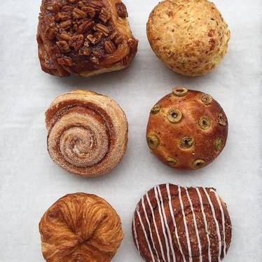 Morning buns, kouign amanns, sticky buns, and biscuits at HEWN Artisan Bread