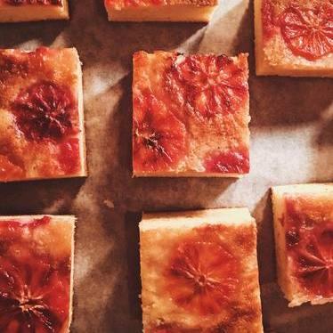 Blood orange cake with orange gastrique and nutmeg at Ned Ludd