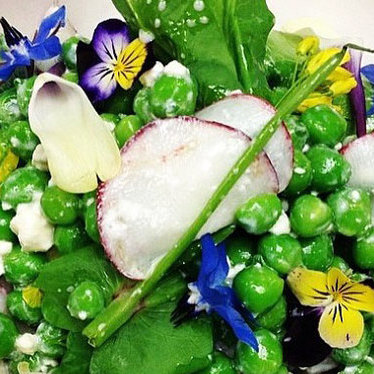 English pea salad at The Grill at Meadowood