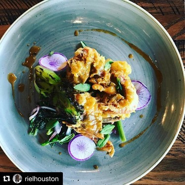 Fried soft shell crab, water spinach, paddy herbs, tamarind vinaigrette at Riel