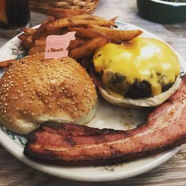 Cheeseburger with bacon and fries at Peter Luger Steak House