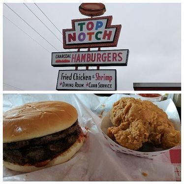 Burger and fried chicken at Top Notch