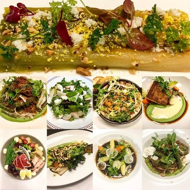 Spring menu feat. herbs, leek, lettuce, peas, ramps, beans, leaf, fava, nettle and more at Bar Boulud