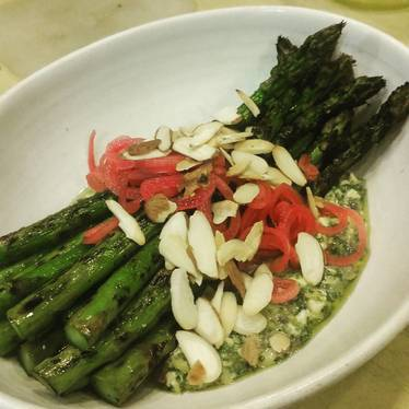 Lightly smoked asparagus, gribiche, pickled shallots, almonds at Chalkboard
