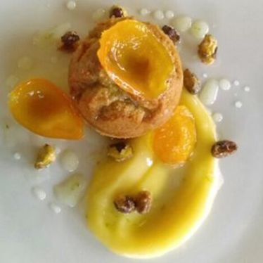 Brown Butter Tea Cake, Lemon Curd, Candied Kumquats, Tequila-Lime Glaze at Patois