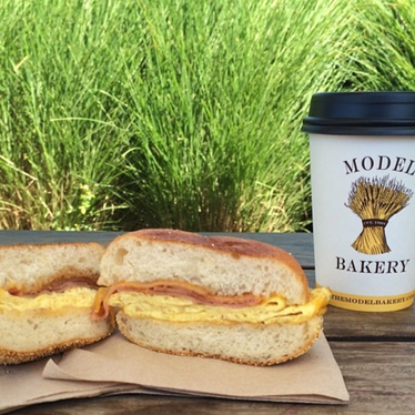 English muffin breakfast sandwich at Model Bakery
