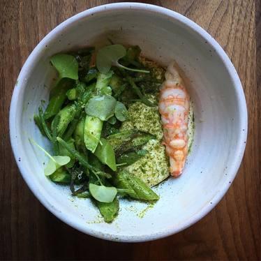 Asparagus, sea vegetables, Douglas fir, and bintje at Aster