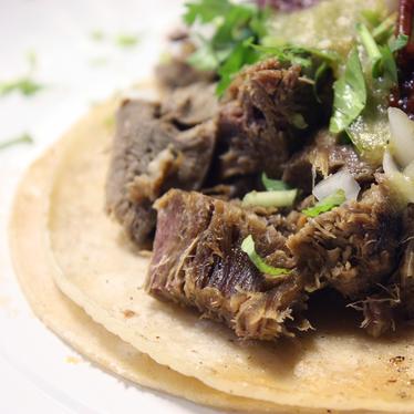 Lengua tacos at Las Cazuelas Mexican Restaurant