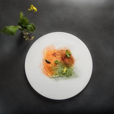 Crudite mosaic with curd-fermented carrot powder, tomato powder, herb powder, pickled tiny vegetables, purslane, celery leaf at Alter