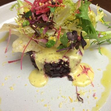 NYE 2nd course: red beet tartare at Bin 707 Foodbar