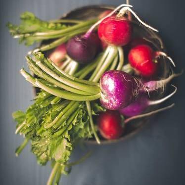 Cauliflower, radish & sunchoke, carrot hummus, mint & yogurt chutney, picked greens at Chambar