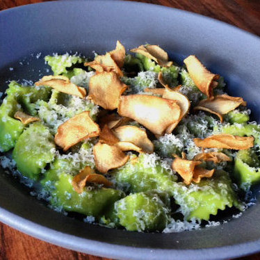 Sunchoke agnolotti, truffles, & dino kale at Flour + Water