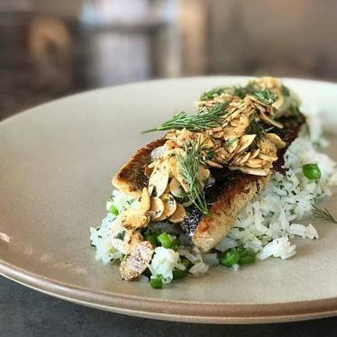 Trout amandine with beans, rice, lemon brown butter, and dill  at Son of a Gun Restaurant