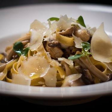 Fresh house-made tagliatelle, wild mushrooms and parmigiano at Tarallucci e Vino