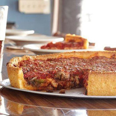 Deep dish pizza at Little Star Pizza