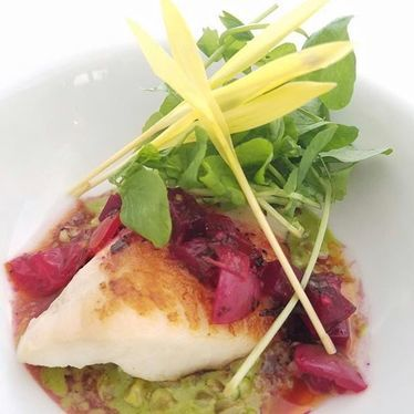 North Shore Aqua Farm Tilapia, Matcha Risotto, Beet Tomato Relish at Alan Wong's Honolulu