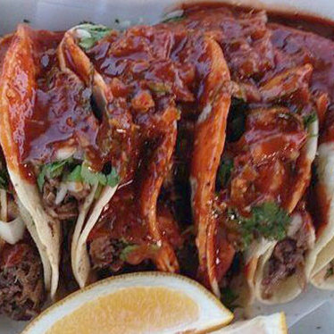 Steamed beef tacos (de cabeza) at Tacos Chavez