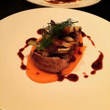 Muscovy duck, sweet potato mousseline, blackberry sauce, grilled fennel at Salum