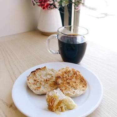 English muffin and black coffee at Blue Bottle Coffee