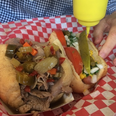 Hotdog and half Italian beef combo (WET)  at Roy's Chicago Dogs @ the Yard