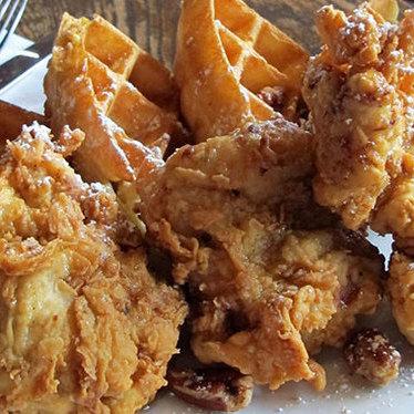 Chicken & waffles at Birch & Barley
