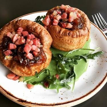 Popovers stuffed with country ham and onion jam at Poppy