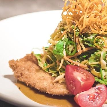 Katsu chicken salad, fried onion at JOEY Bentall One