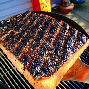 Crispy skin, grilled salmon at The Butcher & Larder
