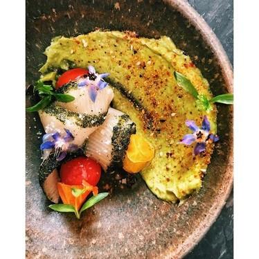 Hamachi, nori, avocado, tomato and bonito at Otium
