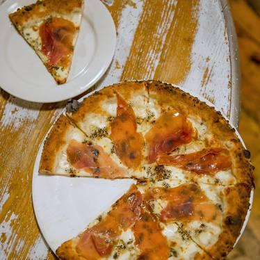 Black truffle and speck pizza at Luzzo's